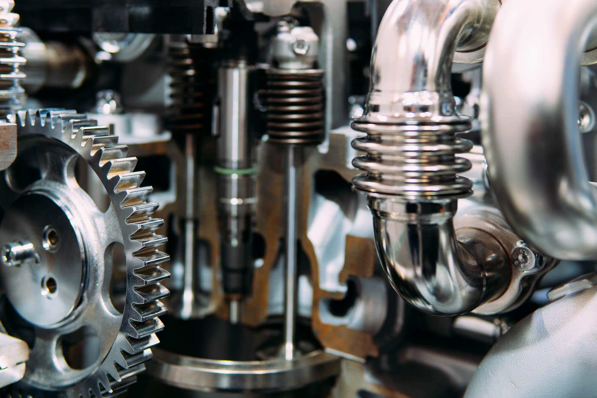 Diesel maskine set indefra.